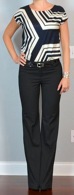 Outfit Posts: outfit post: black & white graphic top, black 'editor' pants, black pumps