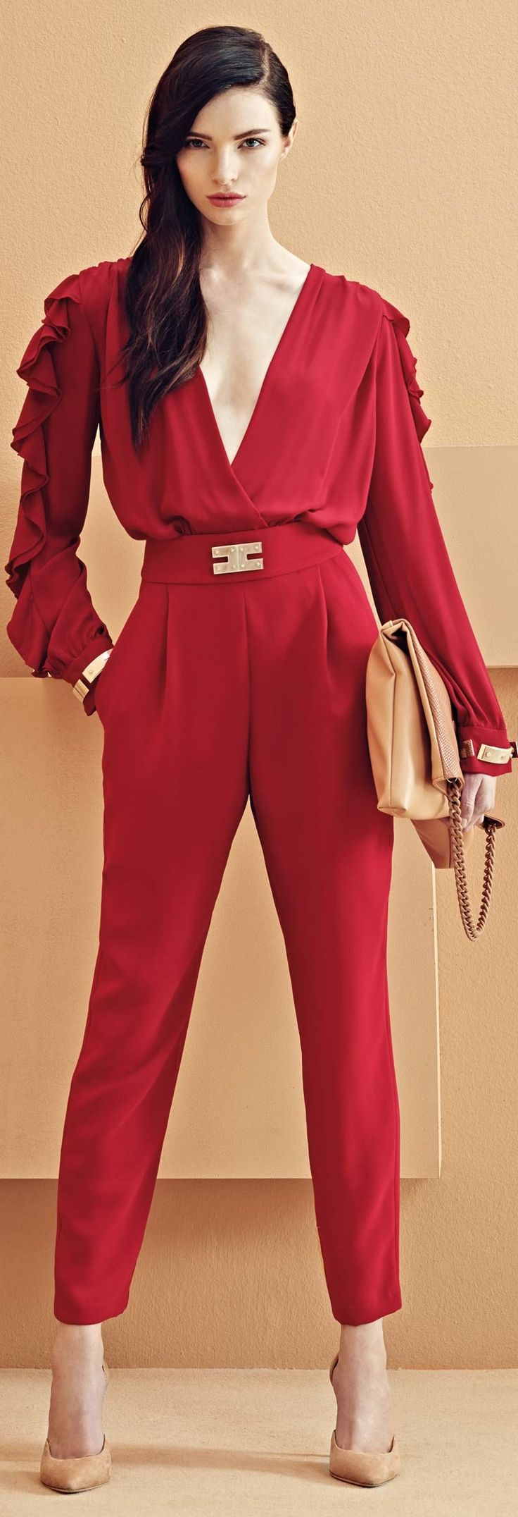 Red Jumpsuit Evening Wear Breeze Clothing