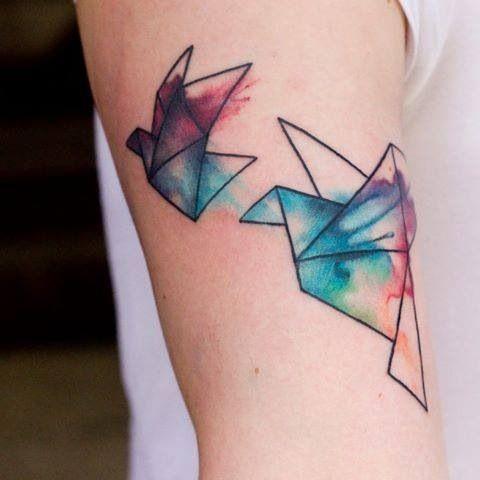 Geometric Paper Cranes Arm Tattoo