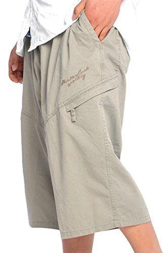 Heheja Pantaloncini Da Uomo 3/4 Bermuda Cargo Shorts Militari Pantaloni Tasconi Con Elastico In Vita Cachi 6XL