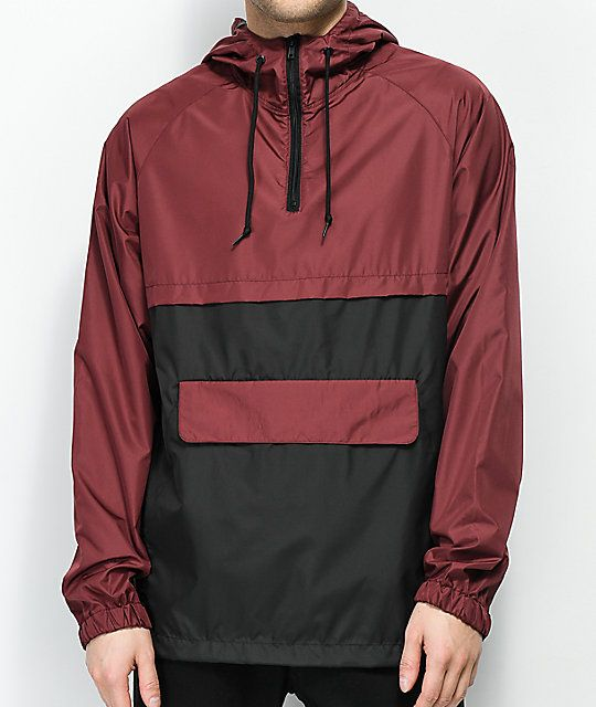 e62c3cf62010 Zine Unlimited Burgundy   Black Anorak Jacket