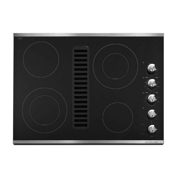 Kecd807xss kitchenaid 30 downdraft ceramic cooktop with 4