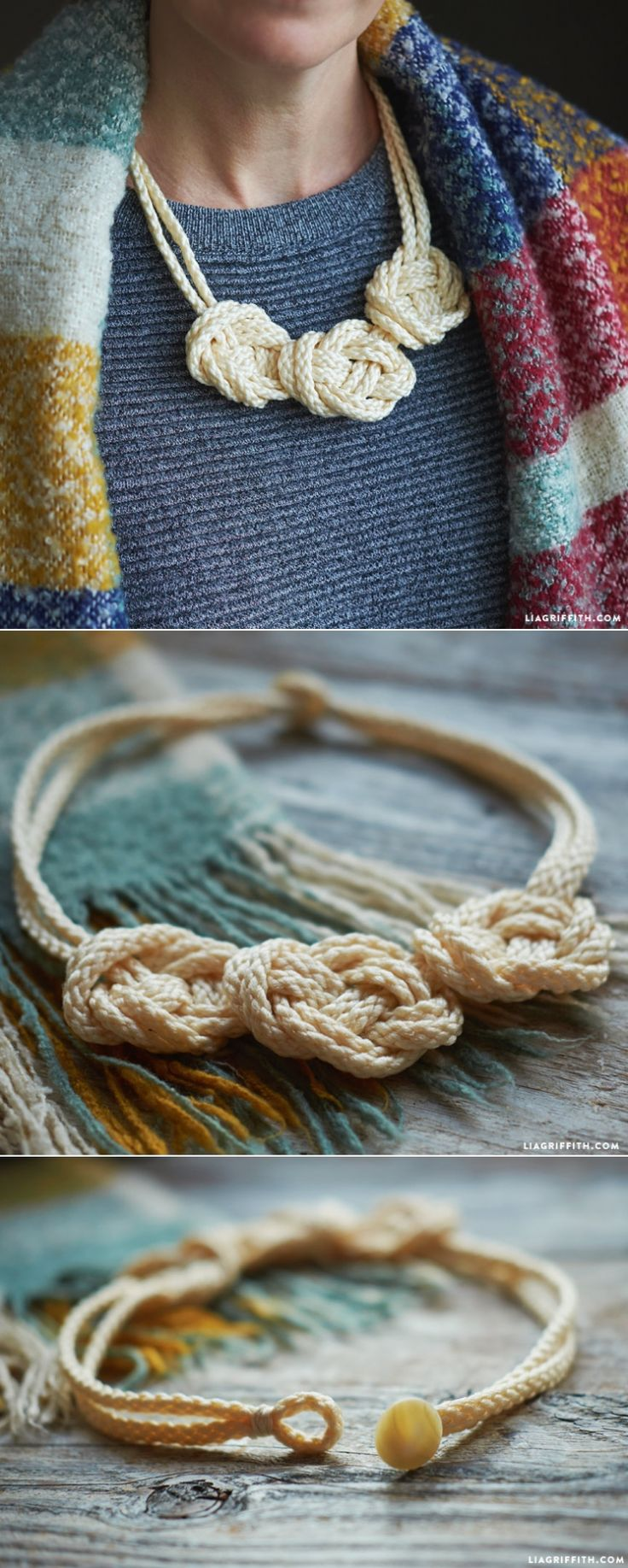 Love the look of knots? Create a unique macramé knot necklace with this step-by-step tutorial, courtesy of Lia Griffith. With only a few materials and steps, you can easily create this necklace in many colors to go with any outfit.