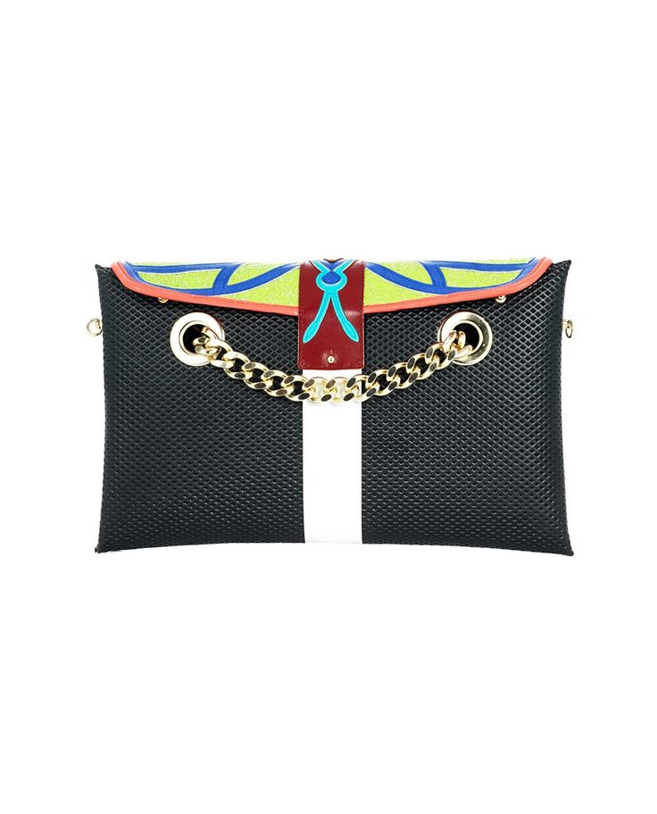 """OHMAI """"Spritz"""" multicolor clutch bag reversible A side: printed faux suede B side: printed faux leather removable embroidered panel removable gold chain strap lever closure reversible in two easy steps Size: 32x20x4 cm"""