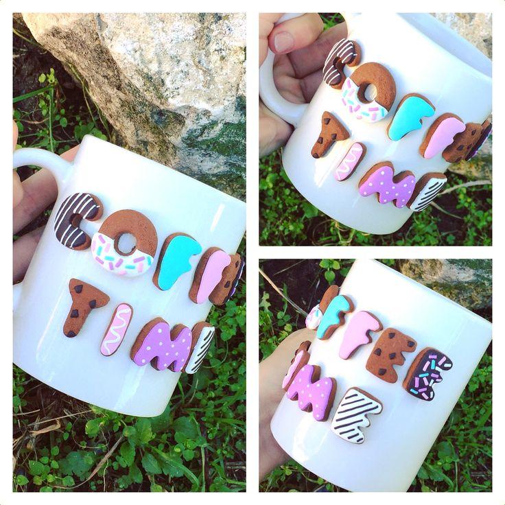Polymer clay handmade homemade mug coffee time donuts sweet cookies happy