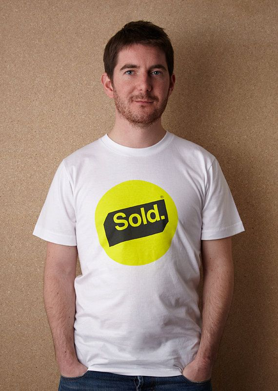 Branded – American Apparel Unisex White T Shirt by Sold / Screenprinted in Yellow and Grey / £18.00 // © Sold 2012