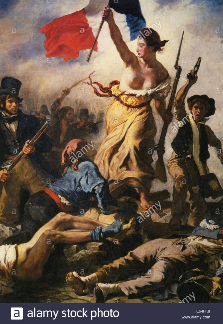 LIBERTY LEADING THE PEOPLE 1830 painting by Eugene Delacroix to commemorate the July Revolution of that year