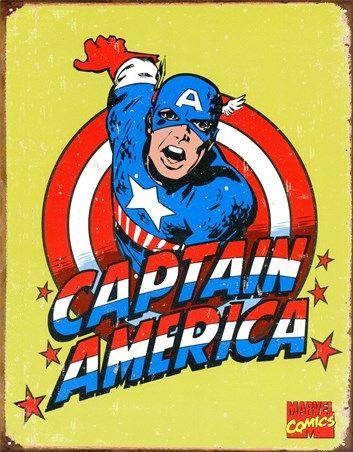 Retro Captain America, Marvel Comics Tin Sign - Buy Online