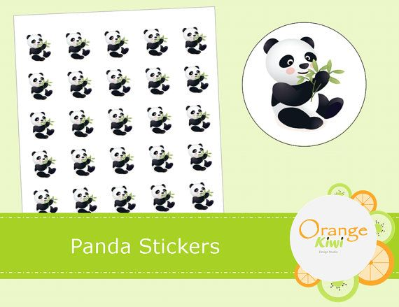 Panda Stickers  Planner Stickers by OrangeKiwiDesign on Etsy