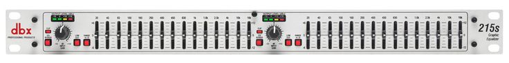 Now Back In Stock The dbx 215S Dual Channel 15 Band Equalizer Check It Out At - http://www.promusicalaska.com/store/effects/dbx-215s-dual-channel-15-band-equalizer/ Features Dual 15-band, 1/3-octave Constant Q frequency bands Switchable boost/cut ranges of ±6 or ±12 dB Front panel bypass switch ±12 dB input gain range 4-segment LED ladders for monitoring output levels XLR and TRS Inpts and Outputs Frequency Response of 50kHz Dynamic range of greater than 108dB
