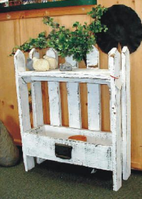 Planter with old drawer on bottom and fence pickets