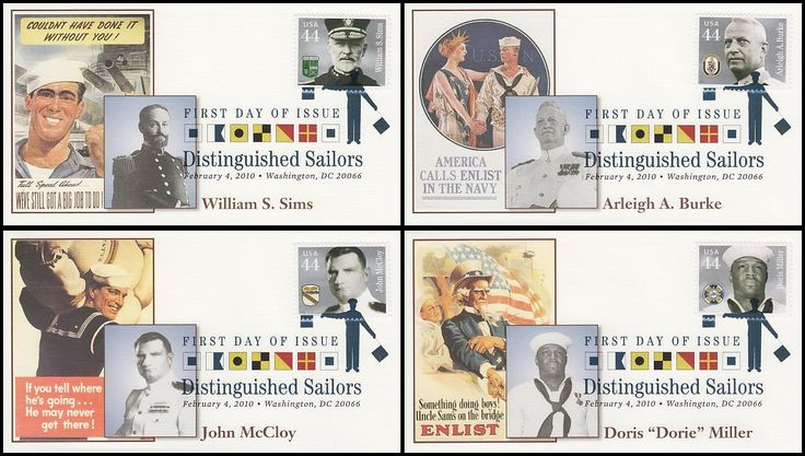 Set Includes: 4440 Williams S. Sims / 4441 Arleigh A. Burke / 4442 John McCloy and 4443 Doris Miller. Have description of the stamp subject printed on the back. ARE IN MINT, UNADDRESSED CONDITION.