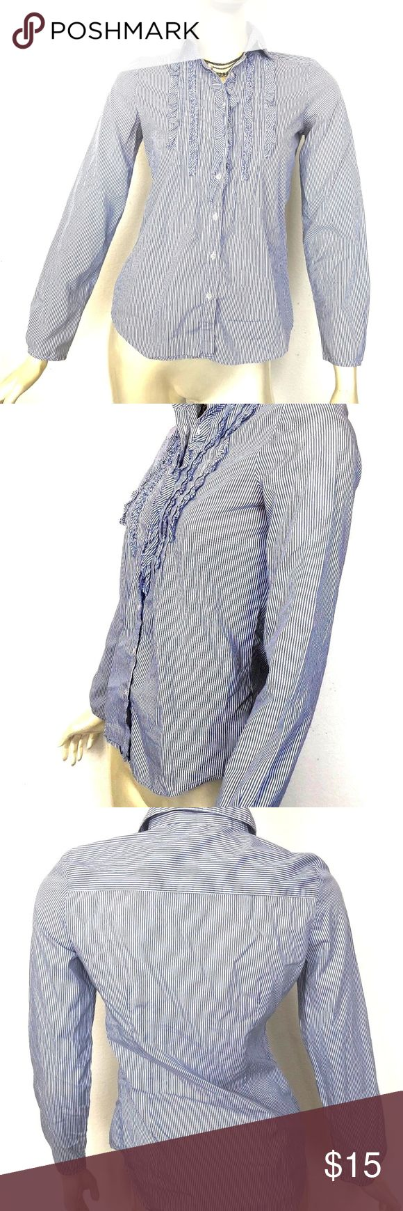 """ZARA Basic Blue White Striped Ruffle Button Down S ZARA Basic Blue White Striped Ruffle Button Down Long Sleeve S Women's top shirt  Measurements taken while laying flat: Length:25"""" Armpit to armpit:18""""  **ANY ACCESSORIES USED ON MANNEQUIN ARE NOT INCLUDED** Zara Tops Button Down Shirts"""