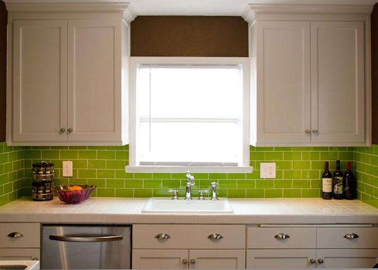 Lush Glass Subway Tile Lemongrass 3x6 Green Kitchen