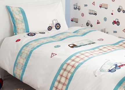 Boys Tractors And Trucks Bedset For little boys who love their trucks and tractors, what could be better than this single duvet cover and matching pillowcase featuring stunning appliqued vehicles in blue and brown check, together with a variety of road signs.