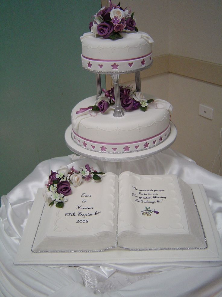 Two Tier Wedding Cake With Customized Edible Bible Created