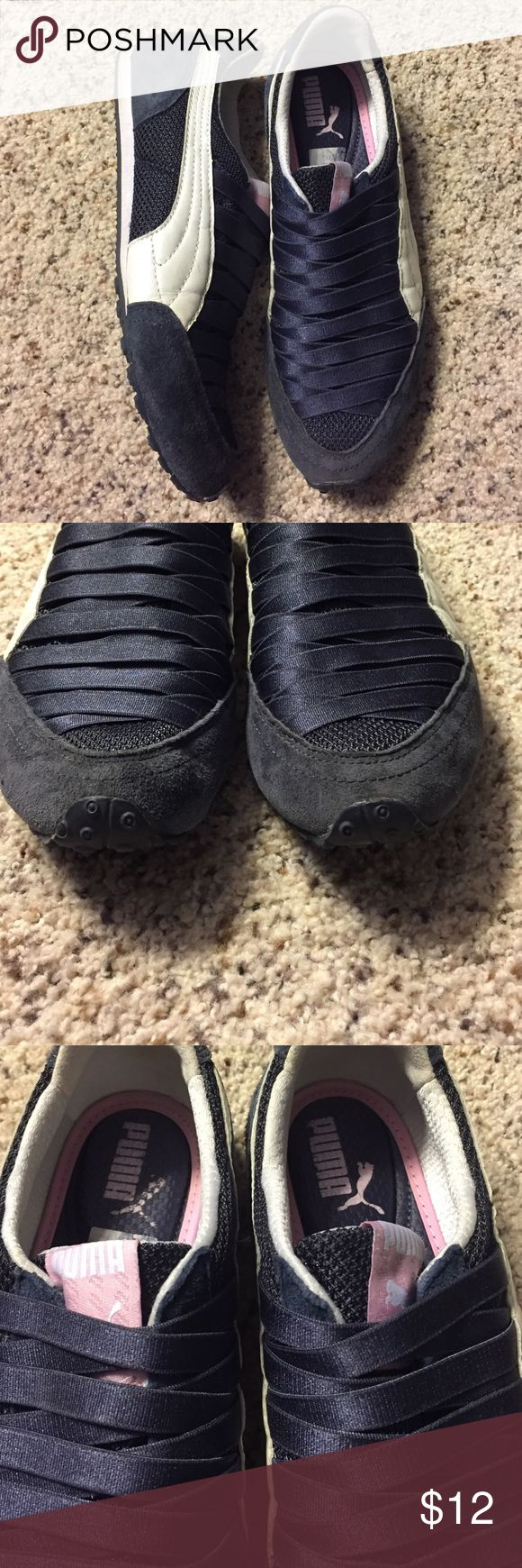 Puma slip on sneakers like Go walks 8 suede These can be slipped on an instant for a secure comfortable fit. Women's size 8. Navy blue with white stripe and subtle baby pink details. In excellent preowned condition. Puma Shoes Sneakers