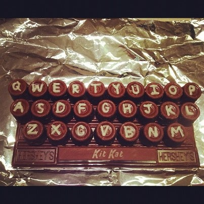 My friend made this for someone. Love it. Chocolate Keyboard. Hershey bar base. Rolo letters. KitKat space bar.