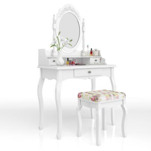 Toletta-Como-Specchio-Specchiera-Camera-Da-Letto-Bianco-Rose-Make-Up-Novita