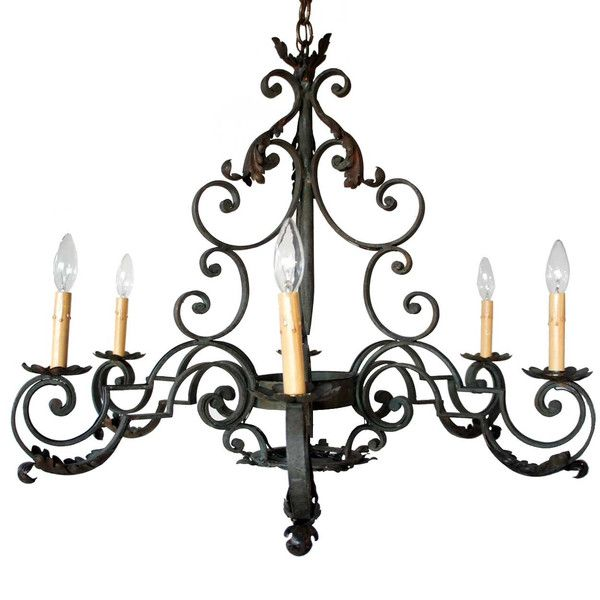 French Provincial Wrought Iron Six Light Chandelier