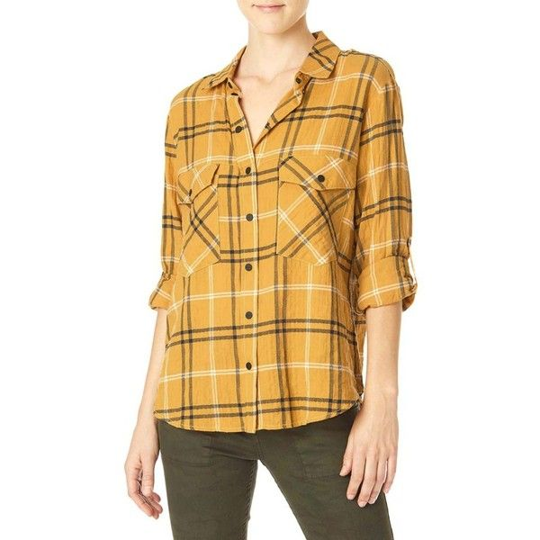 Women's Sanctuary Plaid Flannel Boyfriend Shirt ($79) ❤ liked on Polyvore featuring tops, francois plaid, plaid top, plaid shirts, boyfriend shirt, yellow flannel shirt and roll sleeve shirt