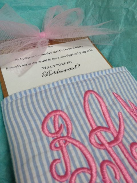 How to ask your bridesmaids: Monograms Koozi, Cute Idea, Bridesmaid Koozi, Bridesmaid Gifts, Being My Bridesmaid, Party Gifts, Bridesmaid Monograms, Weddings Idea, Weddings Asking Bridesmaid