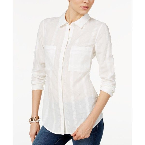 Tommy Hilfiger Boyfriend Shirt, ($60) ❤ liked on Polyvore featuring tops, white, white cami, cami top, white top, white cami top and holiday tops