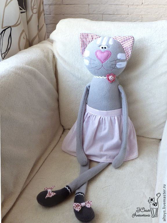 Купить Большая кошка в полосатой юбочке - разноцветный, игрушка из флиса, из флиса, большая игрушка