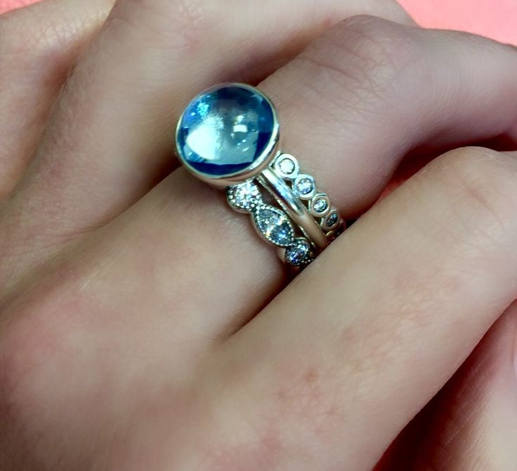 PANDORA stacked rings blue poetic droplet - find them here at Bradshaw's