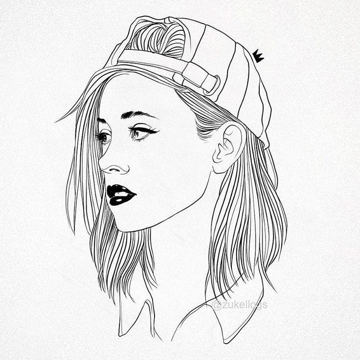 Outline Girl Girl Tumblr Bad Drawing