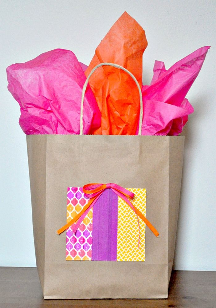Cute And Economic Kraft Gift Bag Idea