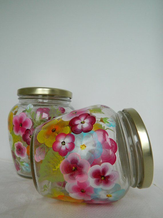 Colorful Jars Kitchen Canister Set Glass Cookie Jars Hand Painted