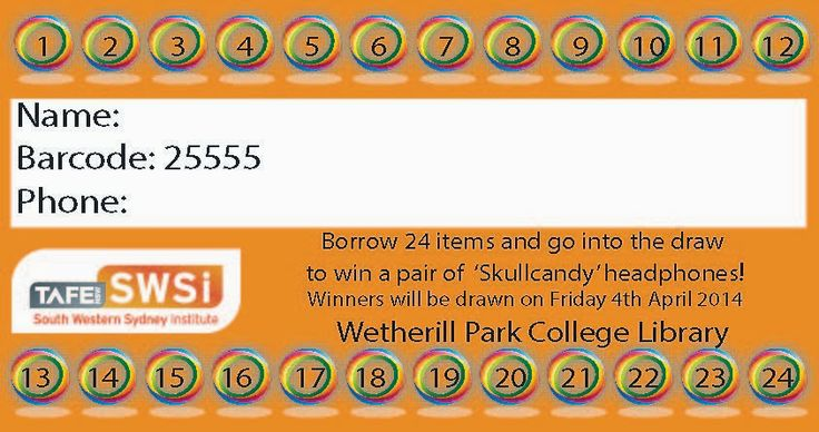 Borrow 24 items before Thursday 3rd of April and go into the draw to win a pair of 'Skullcandy' headphones!