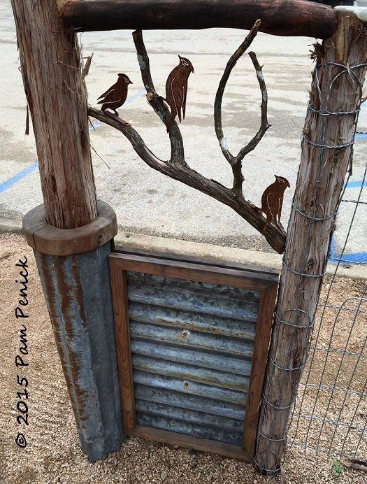 I love this decorative cedar-and-bird detail on fencing at the Natural Gardener Nursery. For more, click through. Pretty goods at Austin nurseries | Digging