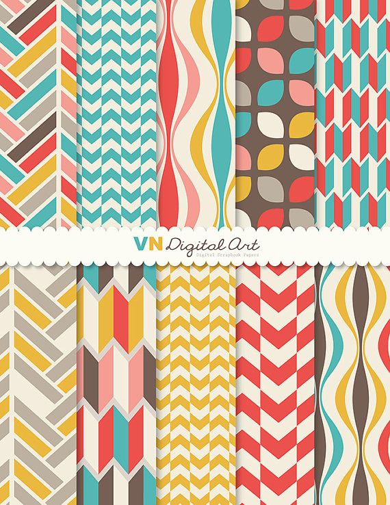 "Digital Paper, Instant Download, Geometric Digital Paper Pack (8.5x11"") -- 10 Digital papers -- 504"
