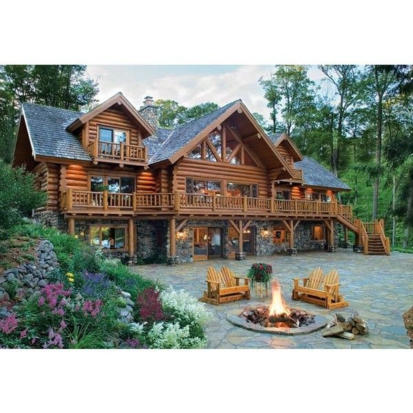 Old Fashioned Log Home Cabin Classic Ken LaCoy Construction ❤ liked on Polyvore