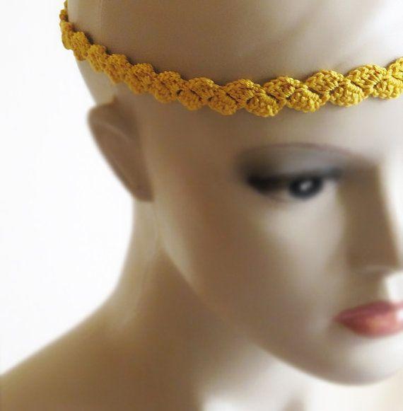 crochet headband yellow headband handmade by selenayselenay