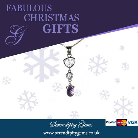 White topaz is one of the most healing of all gemstones. Amethyst keeps the wearer clear headed and quick witted. Put the 2 together and make this pendant a very special Christmas gift. Only one available £140. Next day delivery. Buy now from www.serendipitygems.co.uk