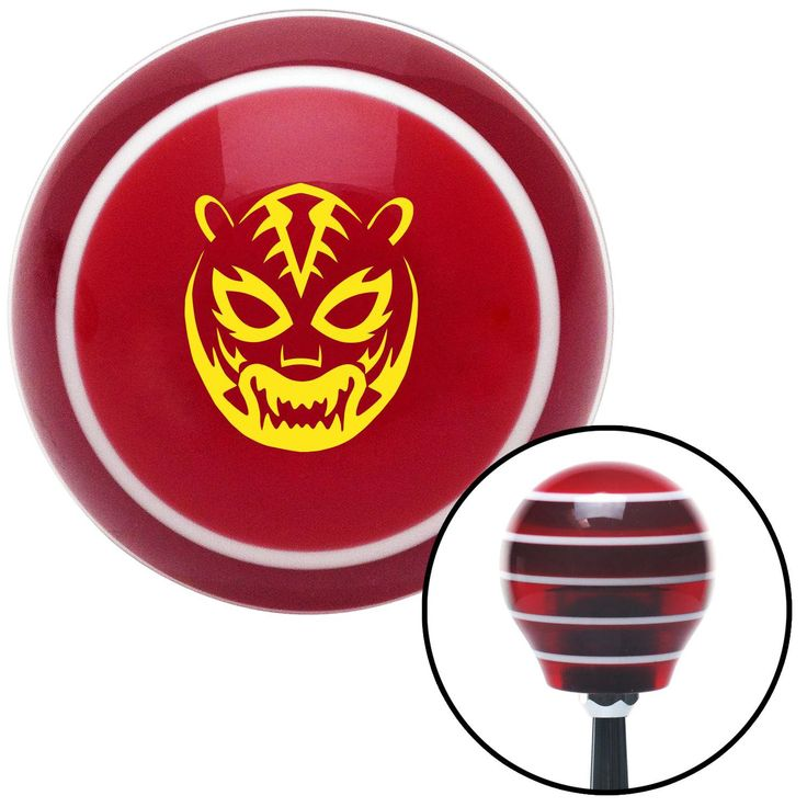 Yellow Lucha Libre Mask Red Stripe Shift Knob with M16 x 15 Insert - Give your interior the ultimate look. American Shifter's Elite(TM) series shift knobs are made from the highest quality components resulting in a superior feel on every shift. Each shift knob is designed and customized in the USA by skilled shift knob artisans who have a trained eye on every detail. American Shifters shift knobs offers an exclusive aluminum threaded insert designed to be screwed onto your shift arm. You…