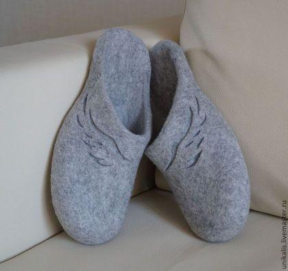 """Валяные тапочки """"Хранители"""" - серый,натуральный,валяные тапочки,обувь ручной работы"""