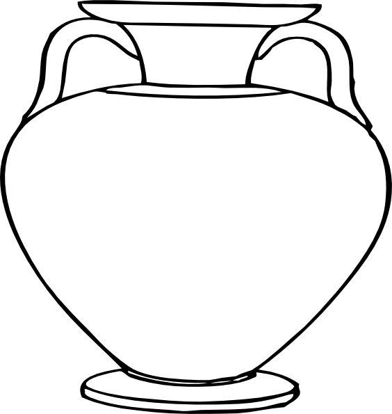 Flower Outlines for Coloring   Large Vase clip art - vector clip art online, royalty free & public ...