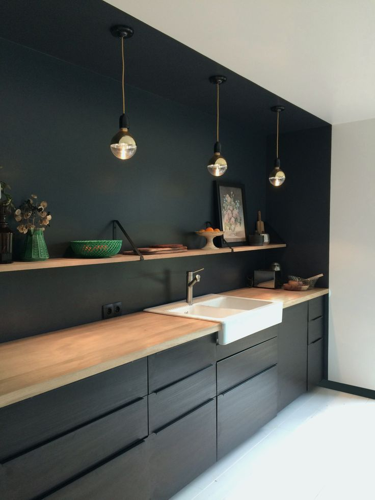 Rustic simple black kitchen #kitchen #kitchendesig…