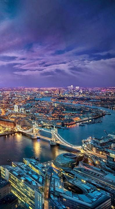 Gorgeous view of London's city lights. Dont't miss out on an oppurtunity to look over the city from a perfect view. Read all about London over at theculturetrip.com
