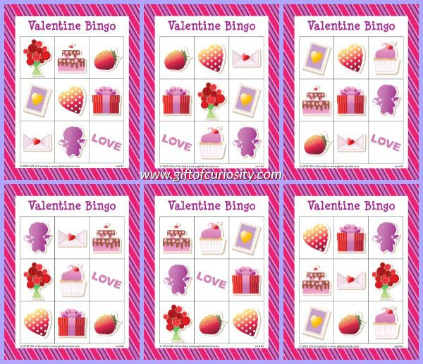 free printable valentine bingo game with 10 different playing cards for hours of valentines day bingo - Valentine Bingo Cards
