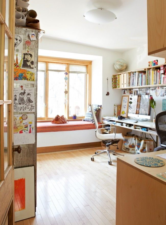 This sort of workspace really speaks to me ~ especially the window seat!