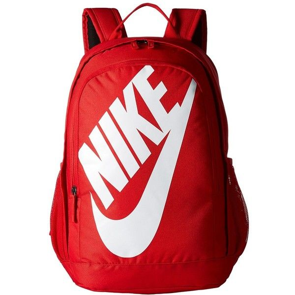 Nike Hayward Futura 2.0 (University Red/University Red/White) Backpack... ($60) ❤ liked on Polyvore featuring bags, backpacks, backpack, backpack bags, strap backpack, zip bag, white backpack and red backpack