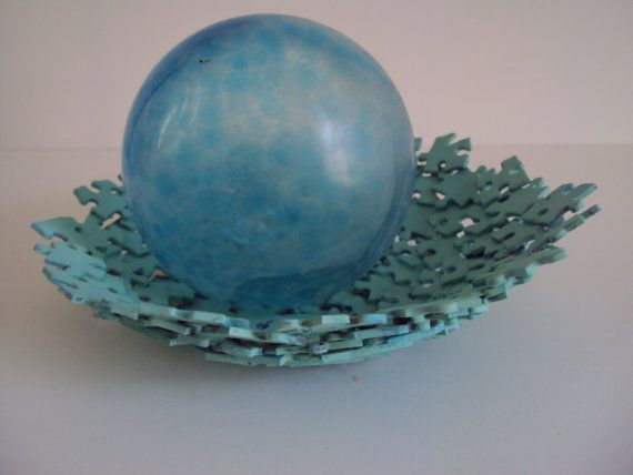 Teal Jigsaw Puzzle Jewelry Holder by SJPuzzles on Etsy, $20.00