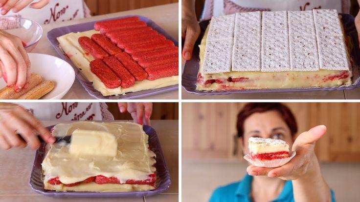 """Facciamo insieme il dolce diplomatico, o torta diplomatica, un dolce raffinato ed elegante anche nell'aspetto. Lo facciamo """"finto"""" sfruttando biscotti e crac..."""