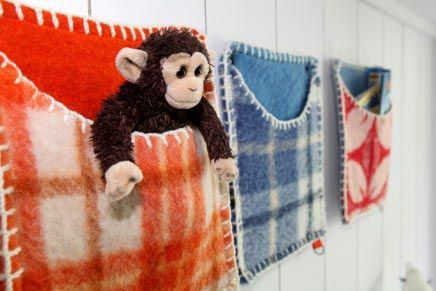Wall pockets. Out of recycled wool blankets?