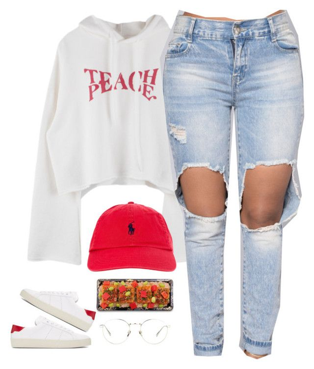 """1365 • Teach Peace"" by cheerstostyle ❤ liked on Polyvore featuring Yves Saint Laurent, Polo Ralph Lauren and Linda Farrow"